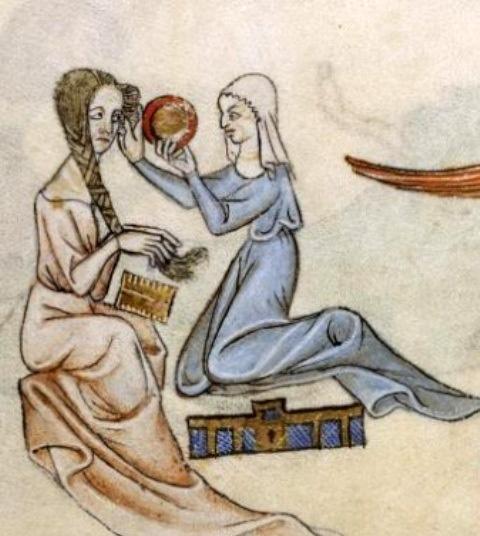 Donna che si pettina. Salterio di Luttrell, British library, Londra