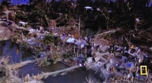 Abitato costiero dopo una devastante inondazione