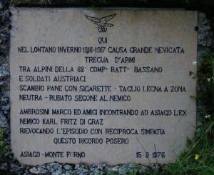 In memoria della Tregua dell'inverno 1916 fra italiani e austriaci