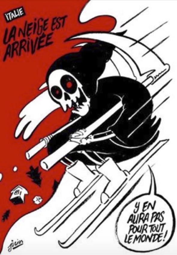 """La vignetta del giornale satirico """"Charlie Hebdo"""" sulla tragedia dell'hotel Rigopiano"""