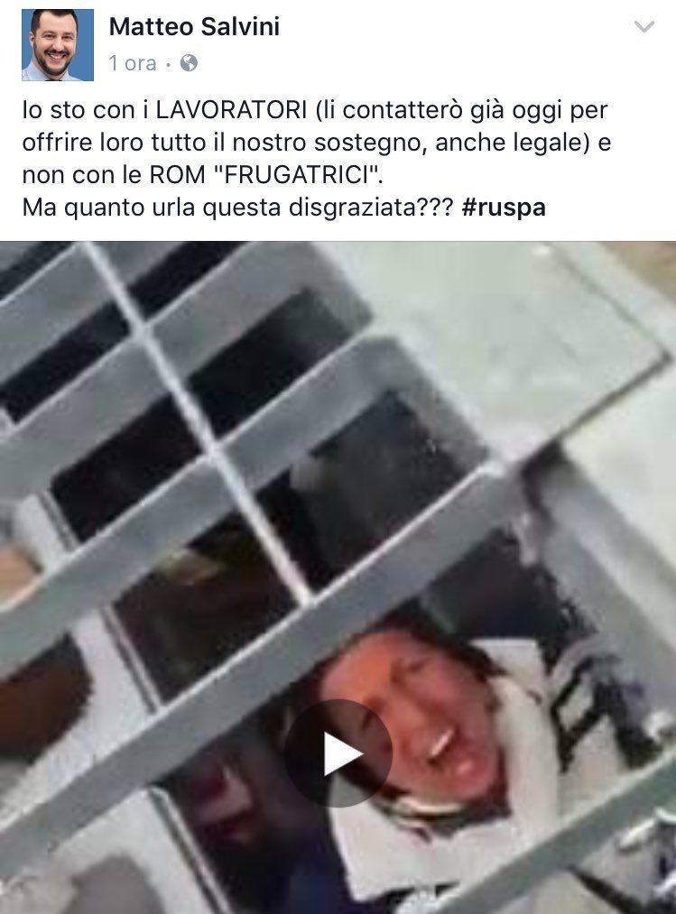 Il commento del leader della Lega Lombarda Salvini riguardo la vicenda