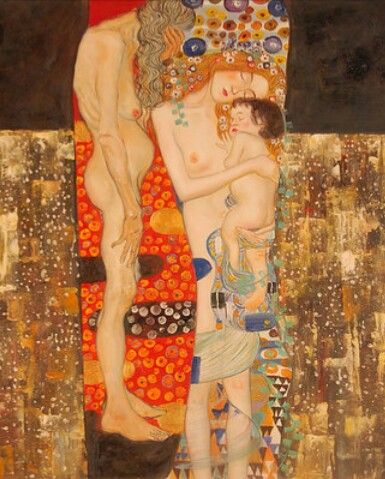 """Gustav Klimt  """"Le tre età della vita"""" 1905 Olio, argento e oro su tela."""