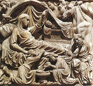 Lorenzo Maitani. Natività con Gesù dentro a un sarcofago