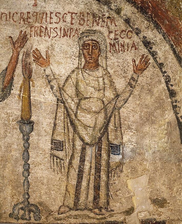 Donna in preghiera, Catacombe di San Gennaro.