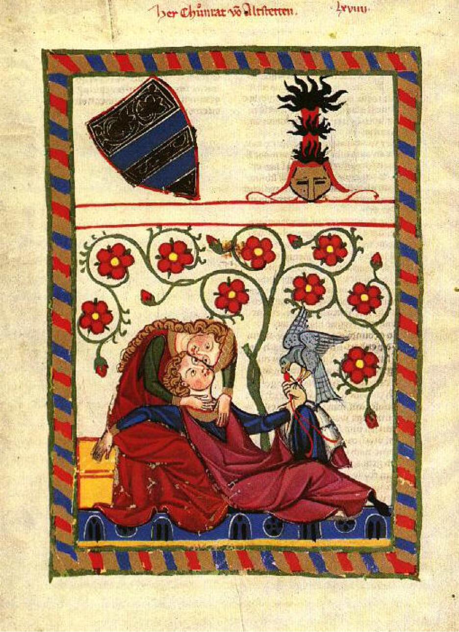 Codice di Manesse. Scena di amor cortese