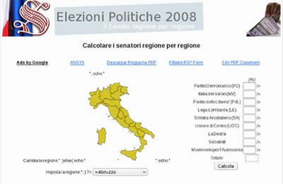 screenshot sondaggio elezioni 2008