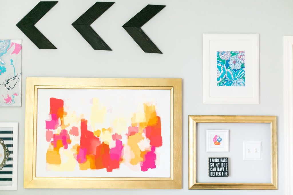 Minted Gallery Wall with DIY marble painting and wood chevron arrows