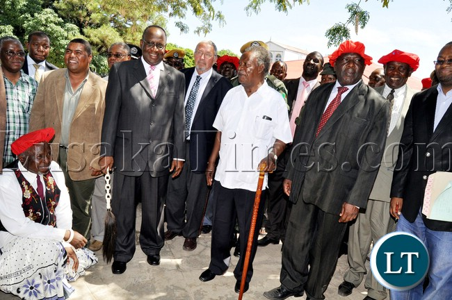 President Sata with Vice-President Dr Guy Scott and the Litunga at Limulunga palace in Mongu  where he paid  a courtesy call on him in Western province on April 14,2013-Picture by THOMAS NSAMA
