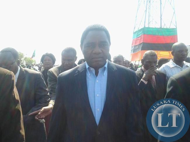 Opposition UPND President Hakainde Hichilema arrives at the airport for the state funeral