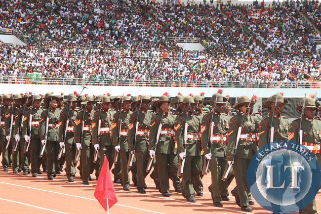 Zambia Army personnel during the Inauguration Ceremony of President Edgar Lungu at Heroes Stadium on January 24,2015 -Picture by THOMAS NSAMA