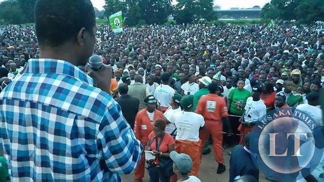 Edgar Lungu addressing late rally in Livingstone
