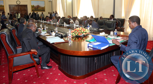 President Edgar Lungu at Cabinet meeting at Statehouse.Pictures By EDDIE MWANALEZA/STATEHOUSE.