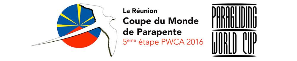 Logo de la coupe du monde de parapente - étape de la Réunion - PWC 2016