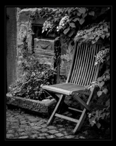 Chair and Fountain by Sue Karski