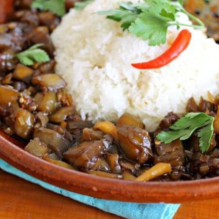 Laotian Fragrant Eggplant ~ Food of the World ~ Lydia's Flexitarian Kitchen