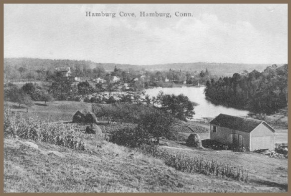 View from Joshuatown Road of Hamburg village, c. 1900, antique post card.
