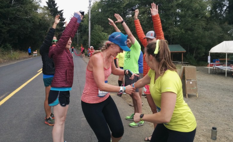 Finishing my last leg at Hood To Coast! Can you tell our team theme was neon?