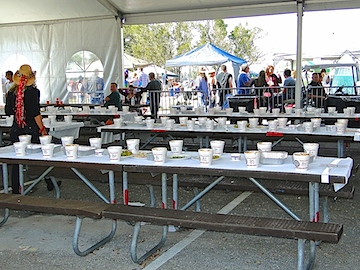 Numbered chili cups for judging.