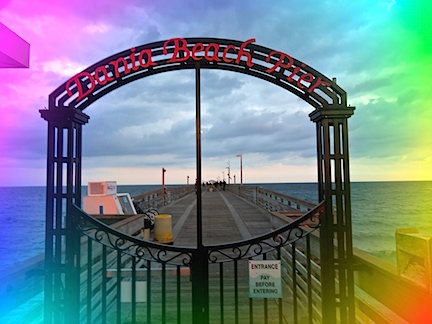 Karen's new camera spices up this pic of Dania Pier's gate.
