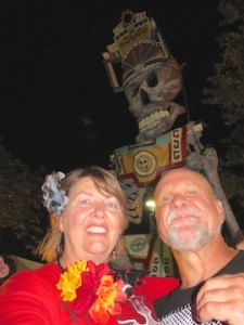 Karens snaps a selfie with while an ominous skeleton looks over us.