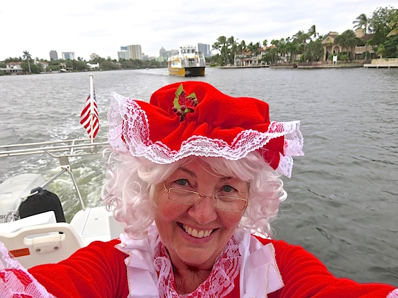 Mrs. Clause takes a selfie as we leave the New River behind and enter the ICW.