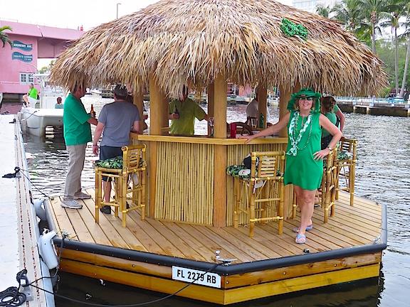 Karen barges onto the floating bar.