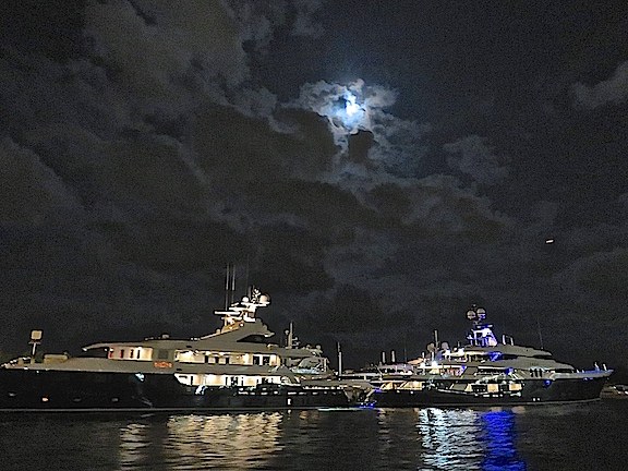 Luxury yachts under the full moon at Pier 66 for people who don't want to travel with a horde, but still not as austere as Rich's kayak.