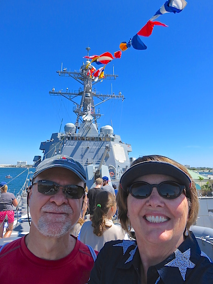On the bow of the USS Bainbridge in Port Everglades.