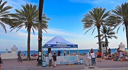 The band tent sits at the east end of Las Olas Blvd. with sand and the ocean for a backdrop.