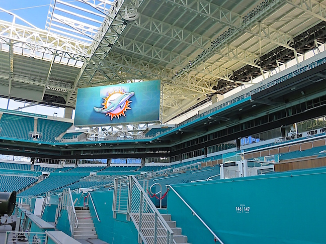 Our seats are up there in section 341 to the right of the monitor. Not the closest to the 50-yard line, but some of the coolest in the house. We went with a breeze and the shade. GO FINS!