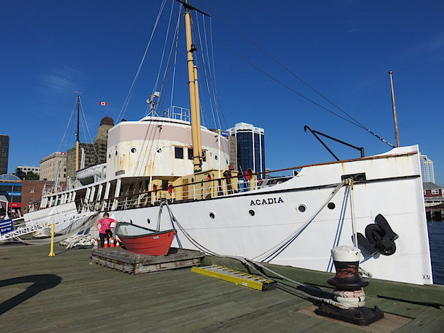 The Arcadia is the only ship that survived both World Wars while serving the Royal Canadian Navy. The 10 block boardwalk is sandwiched between a working Navy yard and Halifax's commercial port.