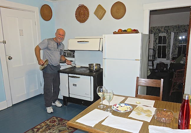 I'm glad that I didn't have to fire up the wood stove in our suite's kitchen to make dinner. Breakfast the next morning was an all you can eat buffet supplied by our innkeepers. It was dark, quiet and peaceful when we turned in for a well needed rest.
