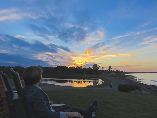 The sunset at Pictou Lodge wasn't shabby by any means. We had dinner in the lodge and I learned about electricity generated from Bay of Fundy tides from men who installed the equipment afterward.