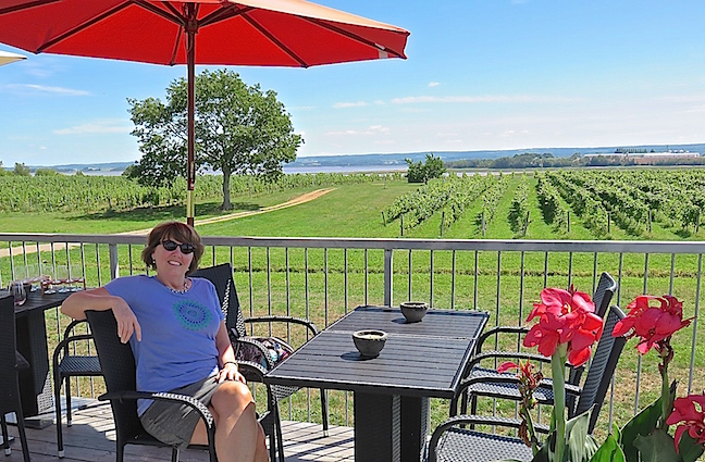 Blomidon Estate Winery had a cool patio overlooking the Bay of Fundy, which is where we headed next. We bought a bottle of Blow Me Down red created to serve chilled.