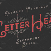 Letterhead typeface with ornate 296596 icon