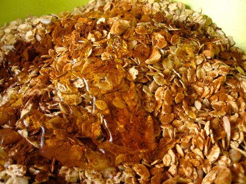 Honey makes oats into granola.