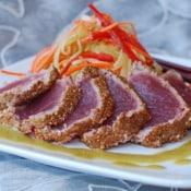 Former Chef: Coriander Crusted Tuna with Cucumber Slaw