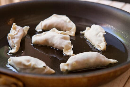 in the pan - Homemade Potstickers