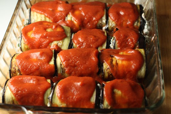 An army of eggplant rolls