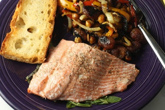 Steamed Salmon w/ Roasted Veggies