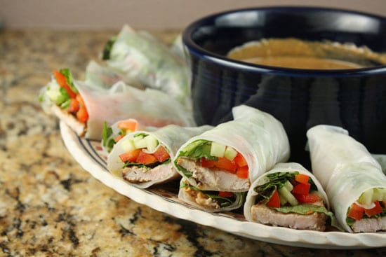 spring rolls plated