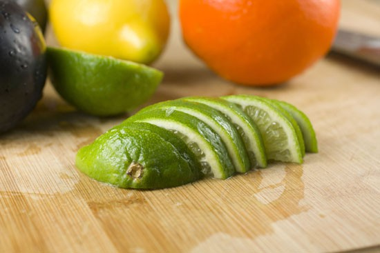 sliced limes for Spicy Sangria