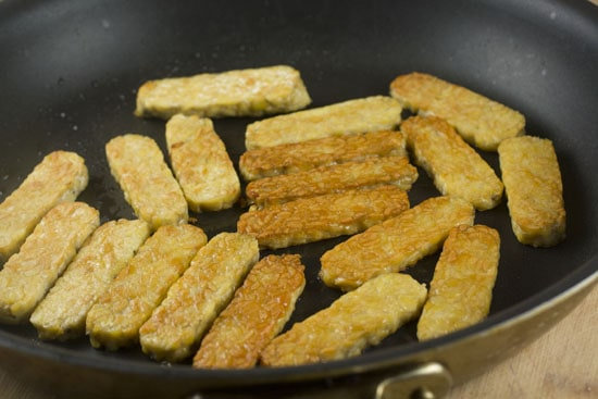 seared tempeh for Spicy Radish Salad