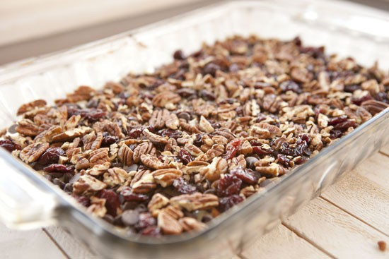 pecans on Chocolate Cherry Bars