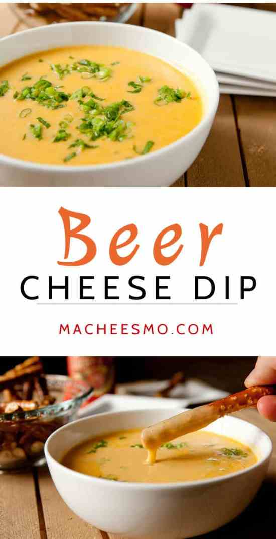 Queso dip made with beer! The perfect game day appetizer with crunchy pretzels. Beer Cheese Dip ~ Macheesmo