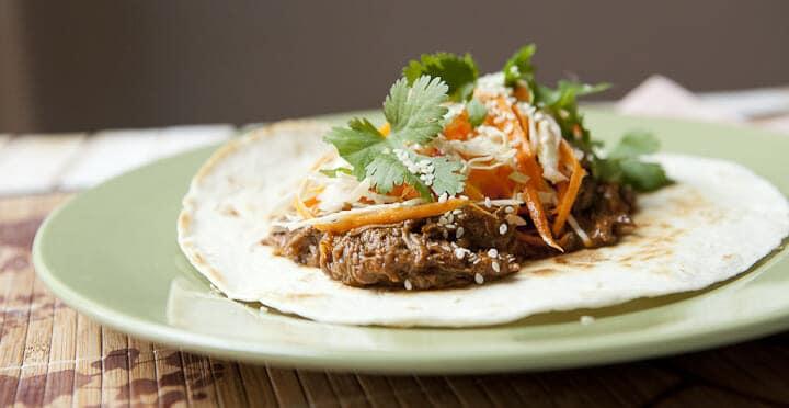 Slow Cooker Korean BBQ Tacos