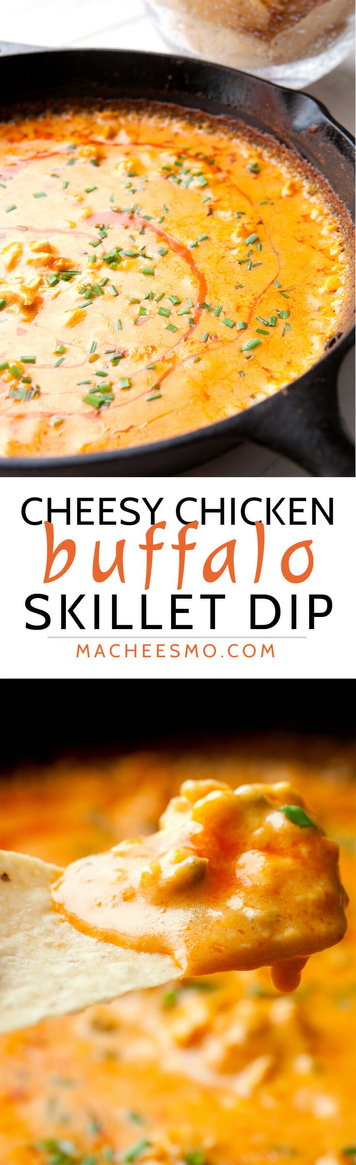 Cheesy Buffalo Chicken Dip baked in a skillet! This is a surprisingly ...