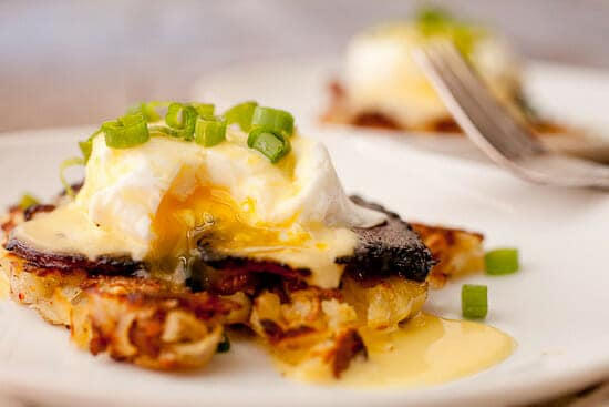 Hash Brown Benedict cut.