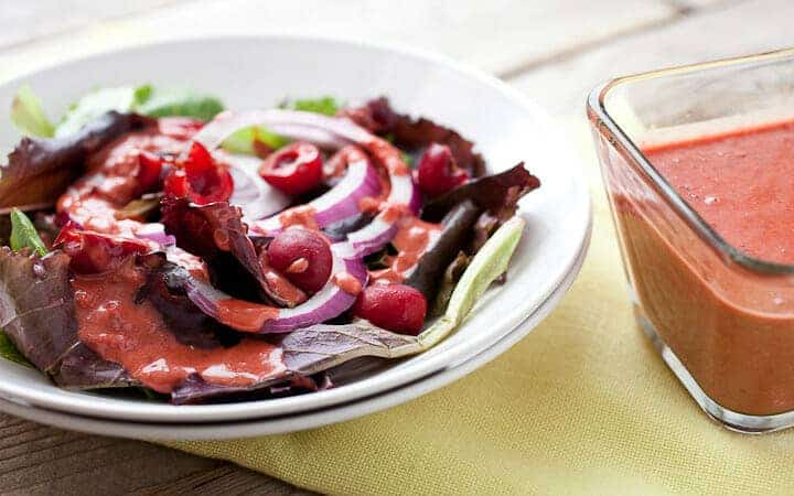 Roasted Cherry Vinaigrette: A simple homemade vinaigrette with just a few ingredients to highlight the delicious, seasonal roasted cherries. Perfect for a light summer salad!