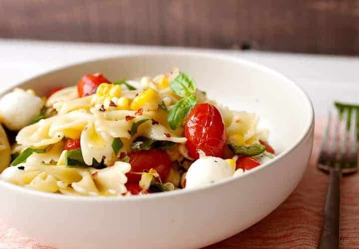 Grilled Tomato and Corn Pasta Salad Recipe ~ Macheesmo